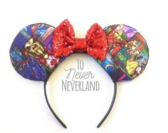 Beauty and the Beast Stained Glass Ears, Belle Ears, Belle Mickey Ears, Disney Inspired Beauty and the Beast Ears, Beast Ears