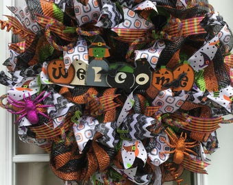 Halloween Wreath, Front Door Wreaths, Fall Decor, Door Decoration, Halloween deco mesh wreath