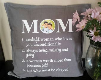 Mom Pillow Cover; Mother Pillow Cover; Mom Gift; Gift; Personalized Gift, Photo Pillow Cover