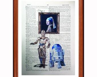 R2d2 C3Po vs Johannes Vermeer - dictionary art print home decor present gift Star Wars - Girl with the pearl Earring