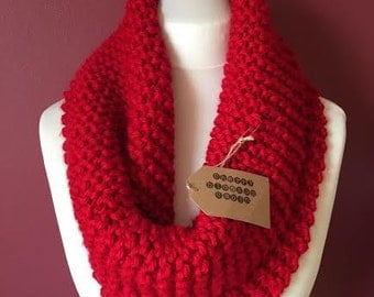 Red Infinity Scarf, womens scarf, winter warmer, chunky knits, knits for her, cowl scarf, knits, woollen cowl,