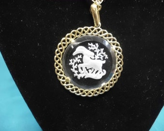 """24"""" Necklace Gold Toned Chain Carved Glass Pendant Horned Goat"""