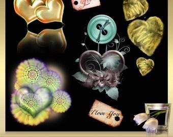 6 Valentine's Day Clipart vol. 7, Valentine heart clipart, Valentine clipart, heart love clipart digital overlays, INSTANT DOWNLOAD