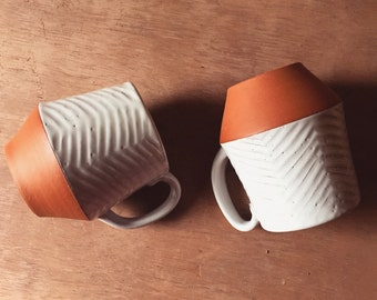 Large Ceramic Mug - Carved Terracotta Jumbo Mug - Red Clay Mug - Modern Handmade - Pottery by Osa