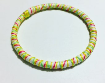 Boho Dreams Bracelet, Handmade Bracelet, Boho Bangle, Hippie Jewlery, Coral Bracelet, Green Bracelet, Yellow Bracelet