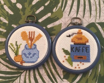 Handmade cross stitch hoop set