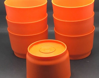 Vintage Tupperware Snack Cups Burnt Orange Set Of 7 4 Oz No Lids 70s Retro # 1229 Made In Canada