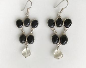 """Sterling Silver Black Onyx Earrings 2"""""""