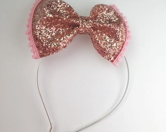 Rose Gold Glitter bow, pom pom metal headband with rubber tips
