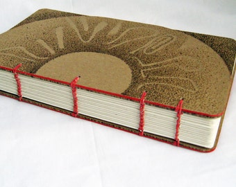 Sun design notebook, Coptic Stitch book, Blank Book, Plain paper notebook, Medium size journal