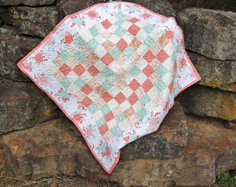 Spring Table Topper, Easter Table Topper, Spring Table Runner, Quilted Table Topper, Quilted Table Runner, Coral and Mint Green Baby Quilt