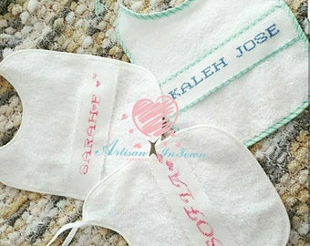 Personalized cross stitch bibs-Baby Bibs-Personalized baby bibs