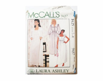1980 McCalls 9437 Laura Ashley Sewing Pattern, Nightgown and Robe Size: Small,  Cut/Complete