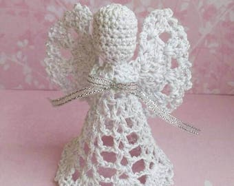 Silver Lace Angel Christmas Angel chrochet ornament Christmas tree ornament angel, shine angel