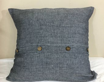 Chevron Ink Linen Euro Sham Cover with Buttons, Chevron Weave on Both Sides, All Sizes Available, Distinct Style!