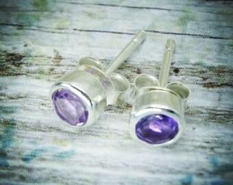 Amethyst earrings | amethyst stud earrings| February birthstone earrings| silver earrings| Amethyst silver earrings|Silver stud earrings| st