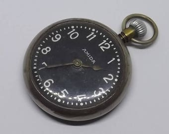 Amida Swiss Made Chrome Case Open Face Pocket Watch Circa 1940s