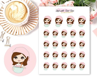 Amelie kawaii girl BAKING planner stickers || Erin Condren Life Planner, Kikki K, Plum Paper Planner
