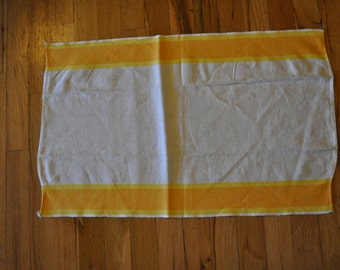 Vintage 1960s White Linen Tea Towel with Orange and Yellow Striped Trim