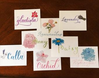 Flower Print Postcards -- Set of 4