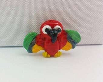 Parrot Bead - Lampwork Parrot - Bird Beads - Animal Beads - Glass Parrot - Birds of Paradise - Red Macaw - Glass Beads - Lampwork Glass - UK