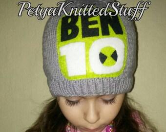 Ben 10 Hat, Ben Ten Hat, Ben 10 Costume, Halloween hat, Ben 10 Knitted Hat, Halloween Costume