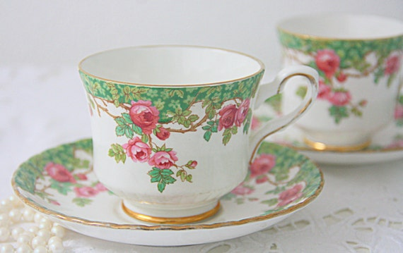 Vintage Royal Stafford 'Olde English Garden' Set of Two Cups and Saucers, Lady-and Gentleman Size, Pink Rose Decor, England