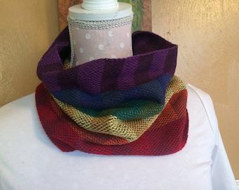 Handwoven RAINBOW cotton cowl scarf