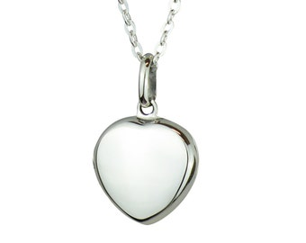 Small Silver Heart Locket for Hair Fur Pendant Necklace - Sterling Silver