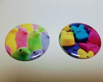 """Magnet or Button 2.25"""" 58mm Set of 2 Magnets or PinBack Buttons Bunnies and Marshmallow Peeps Great for Easter and Candy Lovers"""