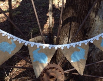 Easter Banner, Easter Decor, Easter Bunny Garland, Burlap Bunting, Rustic Easter, Photo Prop, Burlap Garland,  Pom Pom Trim Bunny Banner