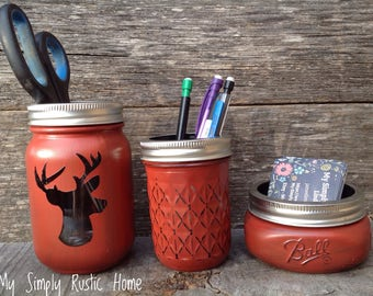 Deer Mason Jar Desk Set-Cabin Desk Set-Hunting Lode-Mason Jar Office Organizer-Desk Set-Mason Jar Set--Desk Decor-Desk Set-business card jar