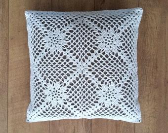 "Handmade crochet cushion,Vintage crochet pillow ""La nostalgie"",retro pillow cover,floral granny square crochet pillowcase,Shabby Chic pillow"