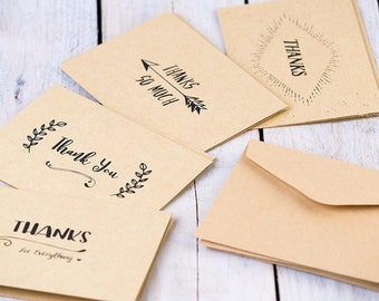 Thank You Cards | Set of 8 Thank You Cards | 4 Card Designs | Kraft Paper Thank You's