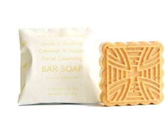 Natural Oatmeal & Honey Facial Cleansing Bar Soap for Normal to Dry Skin, Gentle and Soothing Glycerin Based Soap | Sulfates Parabens Free.