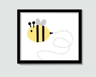 bee art nursery wall art bee print bee printable baby nursery art baby bee animal art animal nursery decor digital nursery art print baby nursery cool bee animal