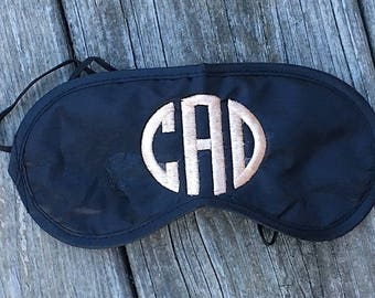 Custom Personalized Monogrammed Black Sleep Mask - free monogram! Perfect for Wedding and Slumber Party Favors