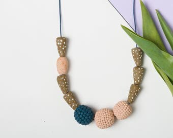 Chunky necklace, Modern necklace, Polymer clay necklace, Beaded necklace, Minimal jewelry, Statement necklace, Geometric gift, Mustard beads