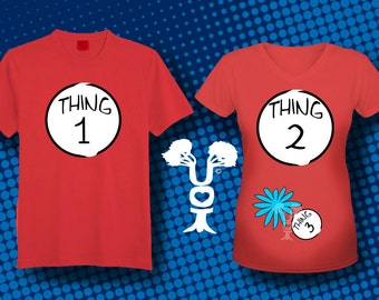 Couples and Maternity Thing 1 and Thing 2 Dr. Seuss inspired T shirt printable Transfer Image for Costume or announcment - Instant Download