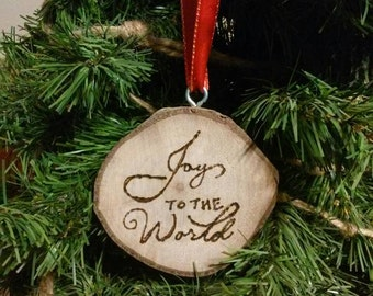 Set Of Two Wood Ornaments, Nativity Scene, Merry Christmas, Joy To The World, Hand Crafted Ornaments, Natural Ornaments