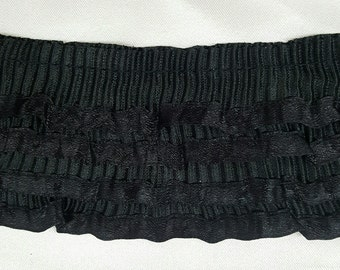 "2"" inch wide 4-Layers Black Satin Pleated  Ruffled Trim Price per Yard"
