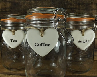 Set of 3 Tea, Coffee and Sugar Heart Shaped Ceramic Tags for Kilner Jars