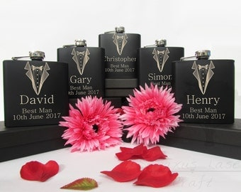 Personalised 6oz Hip Flask, Perfect Gift for The Groom, Best Man, Usher, Father Of The Bride, Father Of The Groom, Birthdays (BF5)