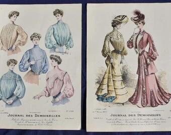 Handcoloured Fashion Print, Journal des Demoiselles, Mode de Paris 1904 x 2