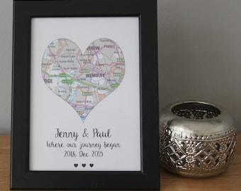 Personalised Love Heart Map Valentines Gift Girlfriend Keepsake Journey Began