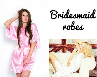Satin bridesmaid robes, kimono robes, wedding party robes, Robes for bridesmaids, X Small to X Large robes, Wide kimono robes, Get ready