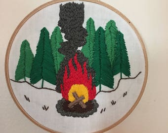 Campfire Embroidery Hoop