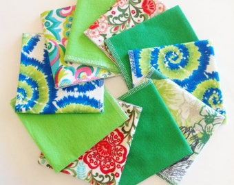 Ladies Handkerchiefs, Set of 10, Prints, Modern,Flannel Handkerchiefs, Reusable Tissues,Paperless Hankies,Womens Handkerchief WH809