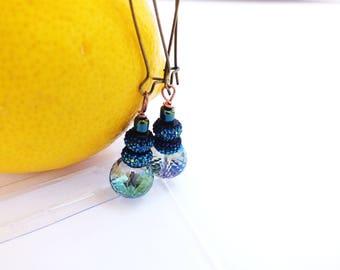 Aquamarine glass earrings, rondelle earrings, navy blue  earrings, madeinUSA,dangle earrings,shimmer rondelle earrings, statement earrings