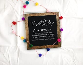 Mother wood sign//mother definition sign//definition of mother sign//mothers day sign//wood sign